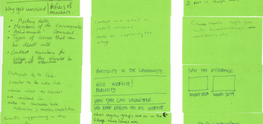 Photo of NCC member notes for the newsletter