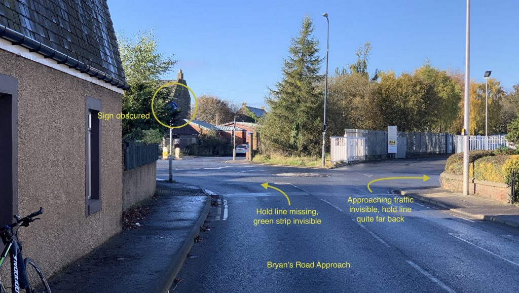marked up view of mini roundabout showing issues as passed to council roads